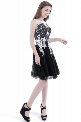 DAHLIA | Short Sheath Sleeveless Black Lace Quince Dama Dresses_4