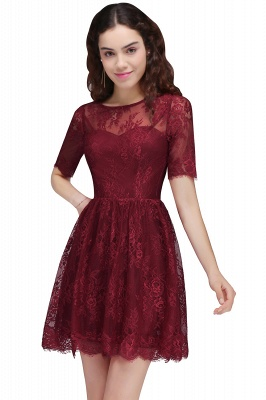 BRITTANY | Quinceanera Round Neck Short Lace Burgundy Dama Dresses_1