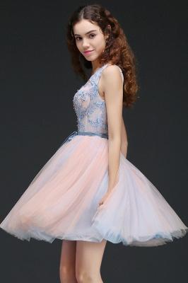 Vestido de regreso a casa azul cielo princesa | con cuello en V hasta la rodilla con un cinturón de auto-atadura_6