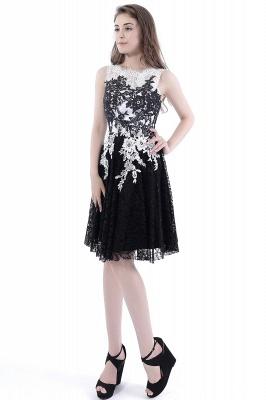 DAHLIA | Short Sheath Sleeveless Black Lace Quince Dama Dresses_5