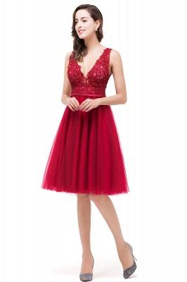 EVIE | Quinceanera Deep-V Neck Sleeveless Short Dama Dresses with Appliques_5