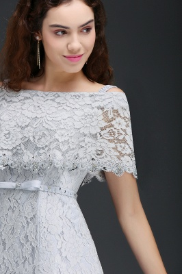 ALEXIS | A Line Off Shoulder Tea-Length Lace 15 Dama Dresses With Sash_4