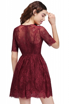 BRITTANY | Quinceanera Round Neck Short Lace Burgundy Dama Dresses_3