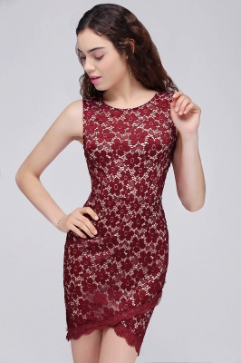 BRILEY | Bodycon Round Neck Short Lace Burgundy Quince Dama Dresses_4