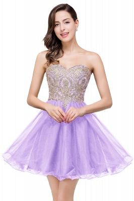 Una línea de encaje vestidos de baile | con apliques cari_o corto_3