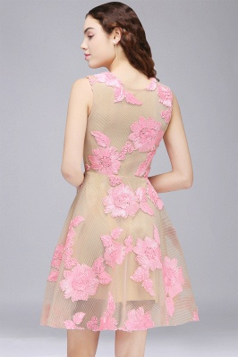 CORDELIA | Princess Knee-length Tulle Quince Dama Dress with Pink Lace Appliques_3