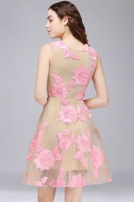 Vestido de fiesta de tul hasta la rodilla | con apliques de encaje rosa_3