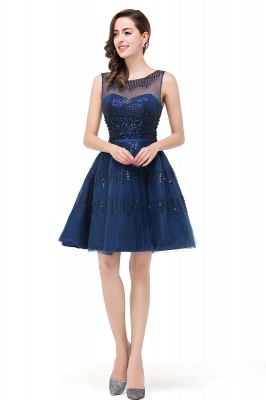 FATIMA | Quinceanera Sleeveless Crew Tulle Appliques Short Dama Dresses_5