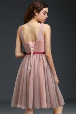 Vestido de fiesta de tul de princesa con cuello en V |  hasta la rodilla con cinturón de amarre_3