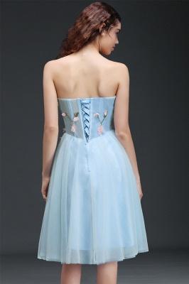 Vestido de regreso a casa azul cielo princesa | hasta la rodilla con espalda con cordones_2