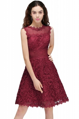 BRIA | Quinceanera Round Neck Short Burgundy Lace Dama Dresses_1