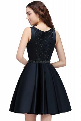 A-Linea cuello redondo vestido de regreso al hogar | con cristal corto oscuro marino elegante_3