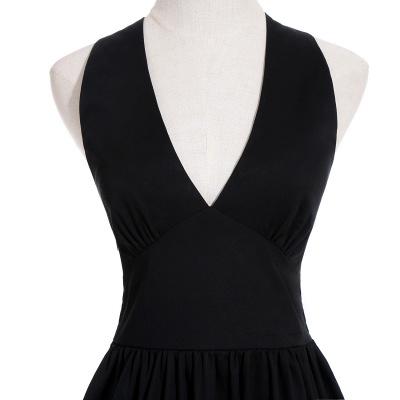 Simple vestidos de cóctel corte | cuello colgando burdeos_13