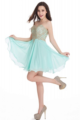 CYNTHIA | Quinceanera Strapless Short Chiffon Dama Dresses with Beadings_15
