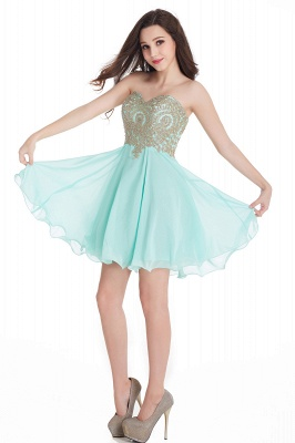 CYNTHIA | Quinceanera Strapless Short Chiffon Dama Dresses with Beadings_14