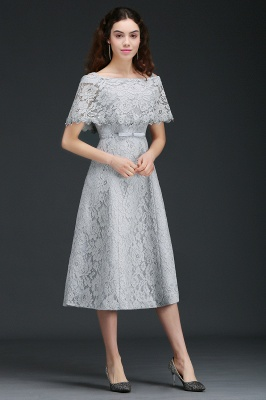 ALEXIS | A Line Off Shoulder Tea-Length Lace 15 Dama Dresses With Sash_7