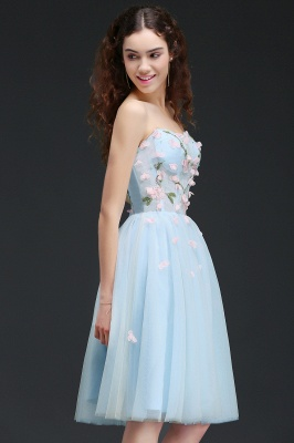 CLEMENTINE | Princess Sweetheart Knee-length Sky Blue Quince Dama Dress with Lace-up Back_7