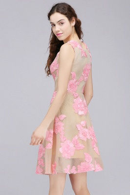CORDELIA | Princess Knee-length Tulle Quince Dama Dress with Pink Lace Appliques_6
