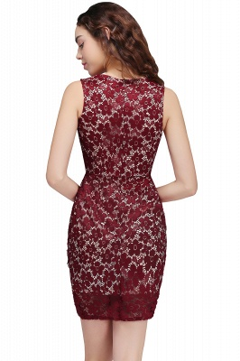 BRILEY | Bodycon Round Neck Short Lace Burgundy Quince Dama Dresses_3