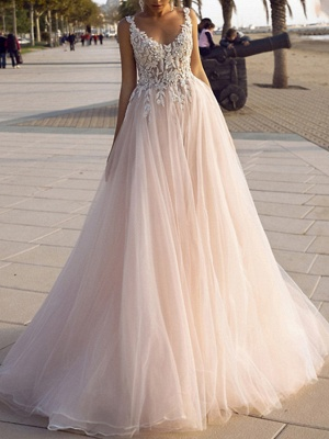 Modest Sleeveless Floral Lace Tulle Aline Wedding Dresses