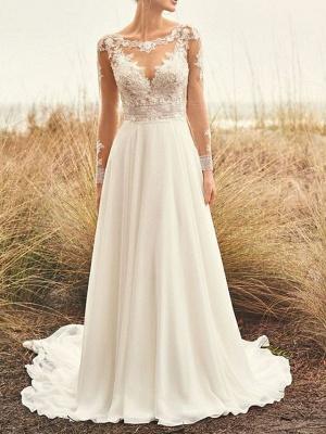 Lace Aline Wedding Dress Long Sleeves Chiffon Boho Bridal Dress