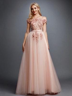 Off Shoulder 3D Floral  Tulle Aline Evening Dress Off Shoulder Party Dress_3
