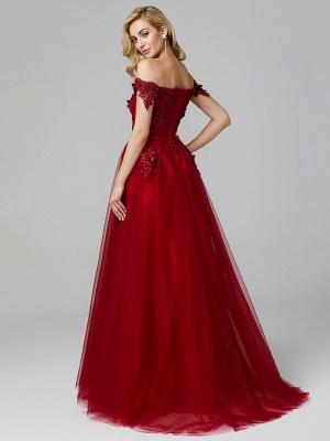 Off Shoulder 3D Floral  Tulle Aline Evening Dress Off Shoulder Party Dress_10