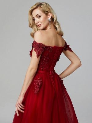 Off Shoulder 3D Floral  Tulle Aline Evening Dress Off Shoulder Party Dress_15