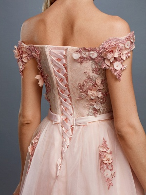 Off Shoulder 3D Floral  Tulle Aline Evening Dress Off Shoulder Party Dress_7