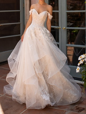 Off Shoulder Tulle Lace Layers Garden Wedding Dress
