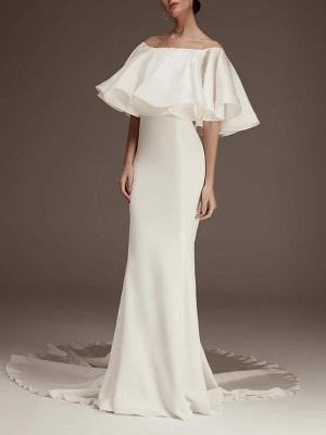 Elegant Puffy Off Shoulder Mermaid Wedding Reception Dress