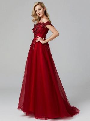 Off Shoulder 3D Floral  Tulle Aline Evening Dress Off Shoulder Party Dress_11