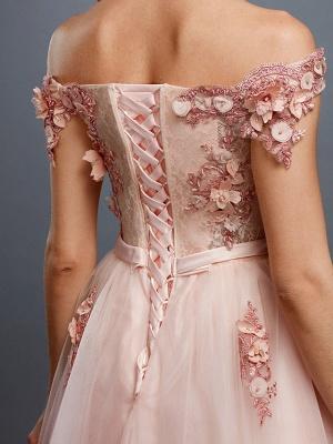 Off Shoulder 3D Floral  Tulle Aline Evening Dress Off Shoulder Party Dress_8