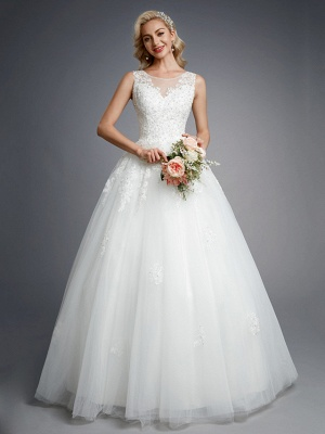 Elegant Sleeveless Crew neck White Aline Wedding Dresses Floral Lace Bridal  Gown