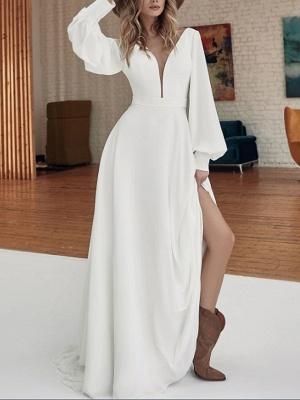 Stunning Deep V-Neck Long Sleeves Side Slit Wedding Dress