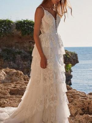 Unique Sleeveless V-Neck Lace Ruffle Wedding Dress