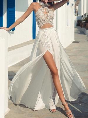 Halter Hollow Lace Side Slut Beach Wedding Dress