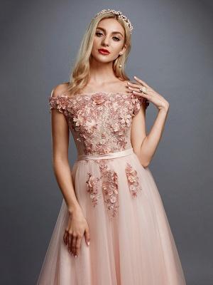Off Shoulder 3D Floral  Tulle Aline Evening Dress Off Shoulder Party Dress_4
