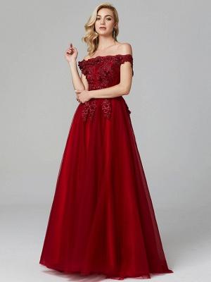 Off Shoulder 3D Floral  Tulle Aline Evening Dress Off Shoulder Party Dress_12