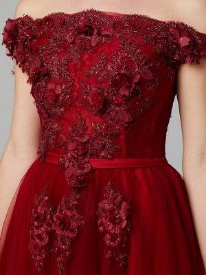 Off Shoulder 3D Floral  Tulle Aline Evening Dress Off Shoulder Party Dress_16