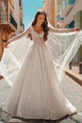 Crystal Beads Long Sleeve Backless Ball Gown Wedding Dresses_3