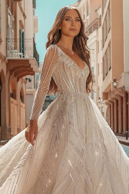 Crystal Beads Long Sleeve Backless Ball Gown Wedding Dresses_4