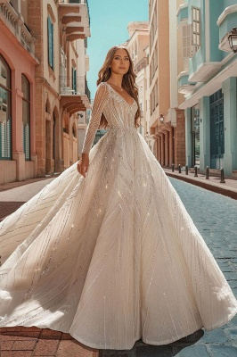 Crystal Beads Long Sleeve Backless Ball Gown Wedding Dresses_1