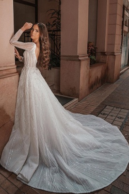 Crystal Beads Long Sleeve Backless Ball Gown Wedding Dresses_2