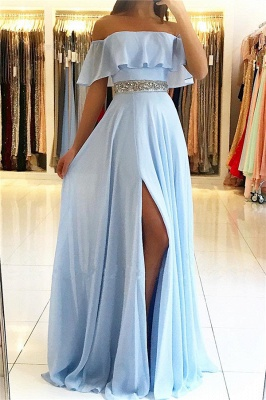 Sky Blue Off The Shoulder Cheap Evening Dresses | Chiffon Side Slit Affordable Banquet Dresses with Crystals Belt_1