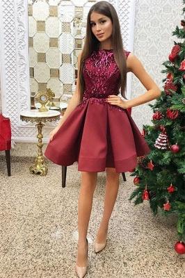 2019 vestidos cortos sin mangas de regreso a casa rojo | Una línea de lentejuelas vestido de regreso a casa barato_1