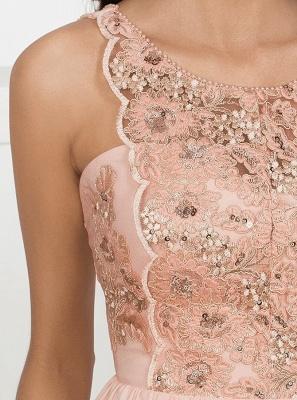 Vestidos de noche de encaje sin mangas rosa 2019 | Vestidos de noche sin mangas con abertura lateral elegante_3