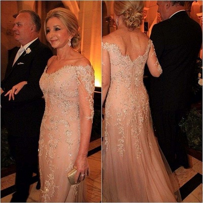 Long Lace Appliques Beadings Evening Gowns with Sleeves Sexy Quinceanera Mother Dresses_3