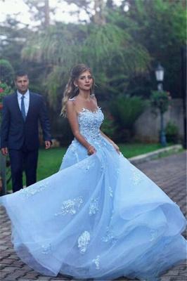 Elegante una línea de vestidos de fiesta de tul transparente de color azul celeste 2020 apliques sin mangas vestidos de noche_4