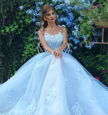 Elegante una línea de vestidos de fiesta de tul transparente de color azul celeste 2020 apliques sin mangas vestidos de noche_3
